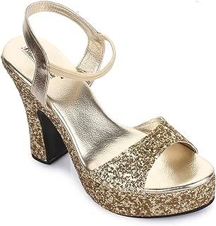 Bruno Manetti Women Golden Glitter Synthetic Leather Block Heels