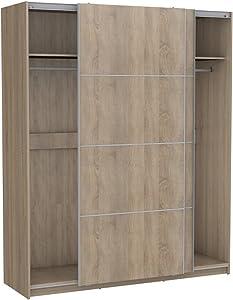 PEGANE Armoire avec 2 Portes coulissantes Coloris Chêne - Dim : 150 X 60 X 200 cm