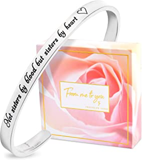 Not Sisters by Blood but Sisters by Heart Bracelet for Women  Friendship  Cuff  Bangle  Jewelry