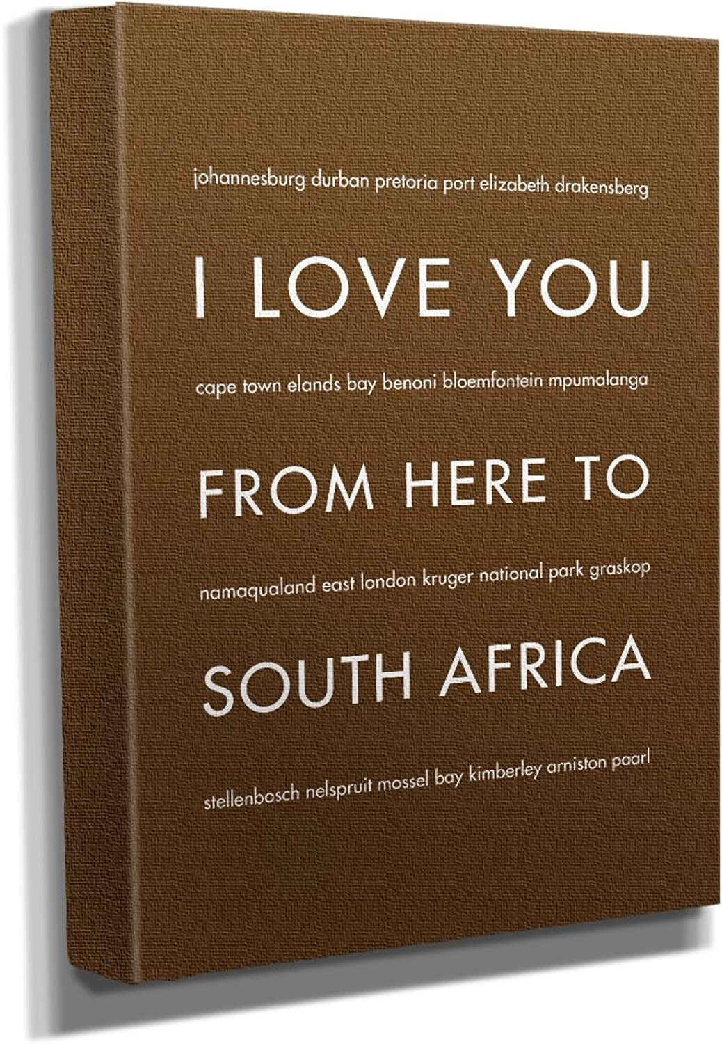 HopSkipJumpPaper South Africa Gallery Wrapped Stretched Canvas Wall Art (8 x10 x1.5 ) in Brown - Typography Home Decor - Ready to Hang