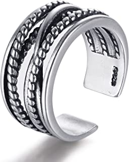 Candyfancy Crossover Ring Sterling Silver 925 Twisted Ring Oxidized Band Open Mid Knuckle Finger Ring for Women Men Couples