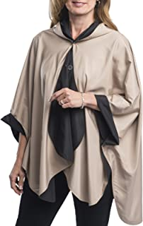 RainCaper Rain Poncho for Women - Reversible Rainproof Hooded Cape in Gorgeous Ultrasoft Colors (Choose Your Color)