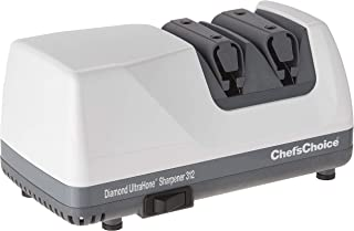 Chef'sChoice 312 Diamond UltraHone Electric Knife Sharpener for Straight and Serrated Knives Diamond Abrasives Precision Angle Control Made in USA, 2-Stage, White