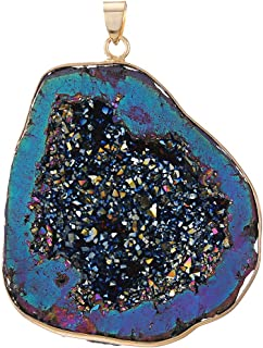 CXD-GEM Natural Agate Titanium Coated Crystal Geode Drusy Gemstone Pendant for Women Hand-Wrapped Pendant for Jewelry