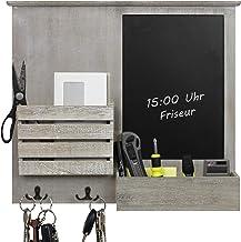 Wandorganizer 52.5x6x46.5cm met schoolbord, planken en metalen haken, wandplank, wandbord