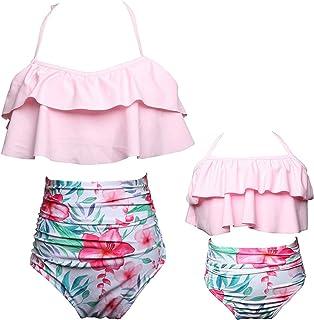 6562769f4d KABETY Girls Swimsuit Two Pieces Bikini Set Ruffle Falbala Swimwear Bathing  Suits