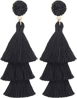 Tassel Earrings Layered Tiered Linear Drop Fashion Trending Earrings