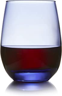 Libbey Classic Blue Stemless Wine Glasses, Set of 6