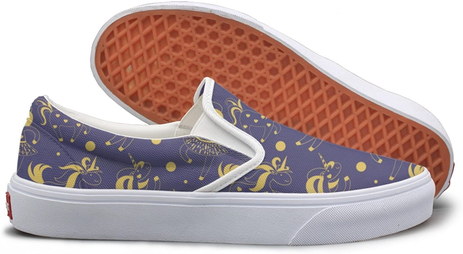 SEERTED Cute Cartoon golden Unicorns Casual Sneakers for Women Slip On
