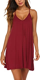 Ekouaer Womens V Neck Sleeveless Nightgown Sleepwear Summer Slip Night Dress S-XXL