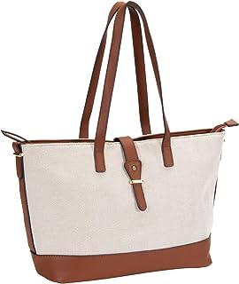 SIX Handtasche in beige-braunem Bast-Design mit goldenen Details (539-148)