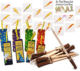 Fun Express Curated Nirvana Wizard and Mage Party Favor Bundle Including Witch's Broom Pens, Wizards Academy Bookmarks, and Lightning Bolt Tattoos | Perfect for Birthday Parties or Award Favors