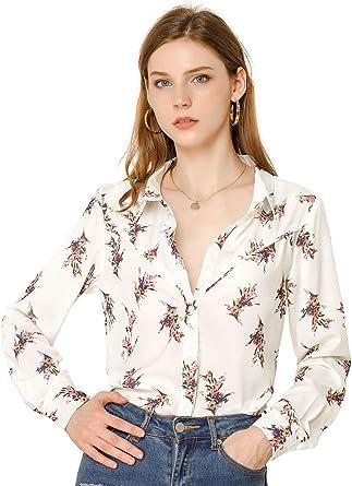 Allegra K Women's Casual Long Sleeves Button Down Turn Down Collar Floral Print Shirt Top