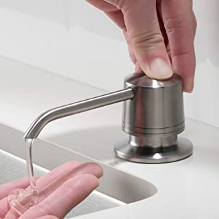KRAUS Spot Free Kitchen Soap or Lotion Dispenser with 17 oz. Large Capacity Bottle and Brass Pump in all-Brite Stainless Steel