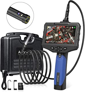 Dual Lens Borescope Scope Camera-Anykit 8mm Double Lens Industrial Endoscope Inspection Camera with 6 Adjustable LED Lights, 4.3 Inches LCD Screen, 9.8FT Waterproof Borescope Snake Camera.