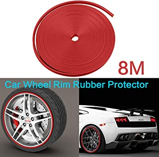 8M Premium Car Wheel Rims Rubber Protector Red, Car Edge Trim Rubber Seal Protector, Vehicle Tire Guard Motors Line Mouldi...