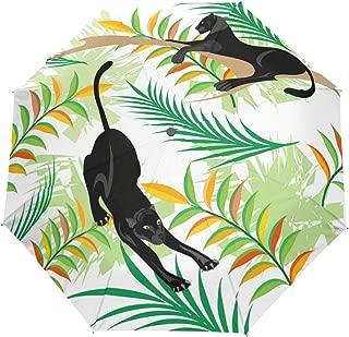 ZOMOY Compact Auto Open Close Umbrella, Vector Seamless Pattern Black Panthers Woods, Windproof & Anti UV Travel Umbrella Rain Sun Protection Parasol