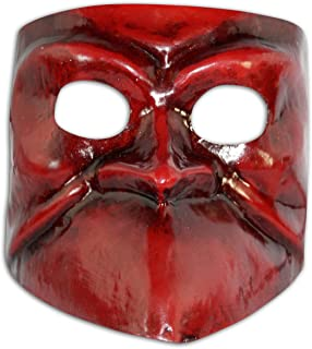 Venetian Half Face Mask Bauta Guido for Men Red