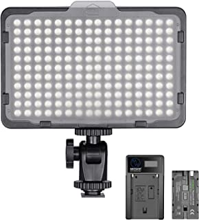 Neewer Dimmable 176 LED Video Light 5600K on Camera Light Panel with 2200mAh Battery and USB Charger for Canon, Nikon, Pen...