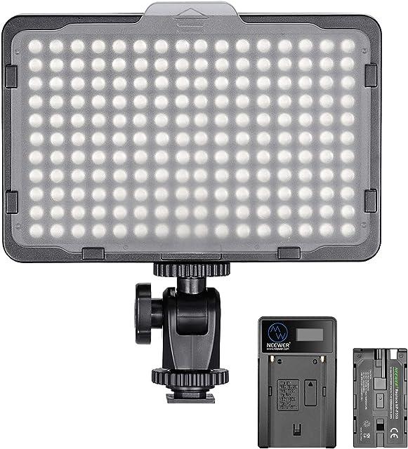 Neewer Regulable 176 LED Luz de Video 5600K en Panel de Luz de Cámara con 2200mAh Batería y Cargador USB para Canon Nikon Pentax Panasonic Sony y Otras Cámaras Digitales SLR para Fotografía