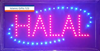 Islamic Gifts 123-USA Halal-Eid Mubarak-Open LED Sign LED Neon Light Open Sign Highly Visible with Color Animation Power On/Off-Islamic Sign Seller-Fast Delivery (Halal Sign, Black)