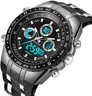 FOVICN Mens Black Watch Sports Watch for Men Fashion Waterproof Wrist Watches Military Date Casual Quartz Analog Watch