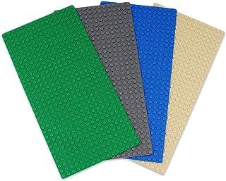 INIBUD 基礎板 ブロック プレート クラシック 互換性 16×32ポッチ グリーン ダークグレー ブルー ベージュ 4枚セット