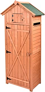HooWii Outdoor Wooden Storage Shed - Garden Tool Storage Cabinet with Fir Wood Lockers, Tall Waterproof Storage Tool Shed for Home, Garden, Outdoor