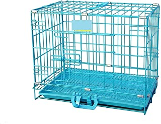 Single Door Folding Metal cage with Removable Tray and paw Protector for Dogs,Cats and Rabbits 18 inch - Central Fish Aqua...