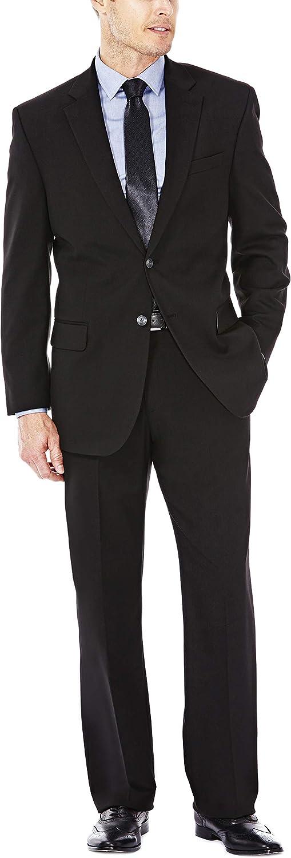 Haggar Men's Premium Performance Stretch Stria 2-Button Suit Separate Coat, Black, 46/Long with Plain Front Suit Separate Pant, Black, 34Wx38L