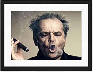 Doppelganger33 LTD Portrait Actor Jack Nicholson Cigar Smoke Ring Large Art Print Poster Wall Decor 18x24 inch Supplied Ready to Hang with Included Mount Brackets