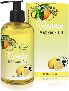 Renew Massage Oil with Orange, Lemon & Peppermint Essential Oils - Great for Massage Therapy or Home use. Ideal for Full B...