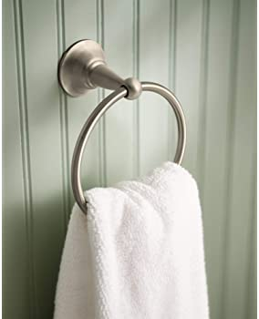 Moen DN6886BN Sage Collection Single Post Bathroom Hand Towel Ring, Pack of 1, Brushed Nickel