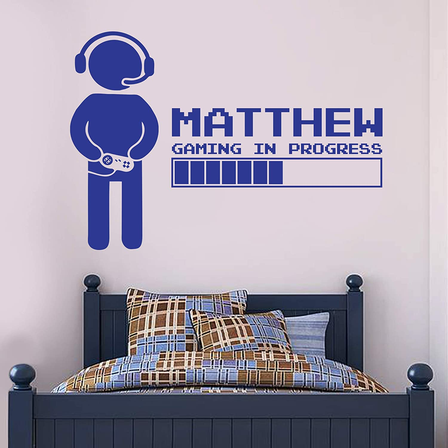 Gaming In Progress Personalised Name Wall Sticker Gamer Bedroom Art Decal Mural Kids 60cm Height X 50cm Width Amazon Co Uk Kitchen Home