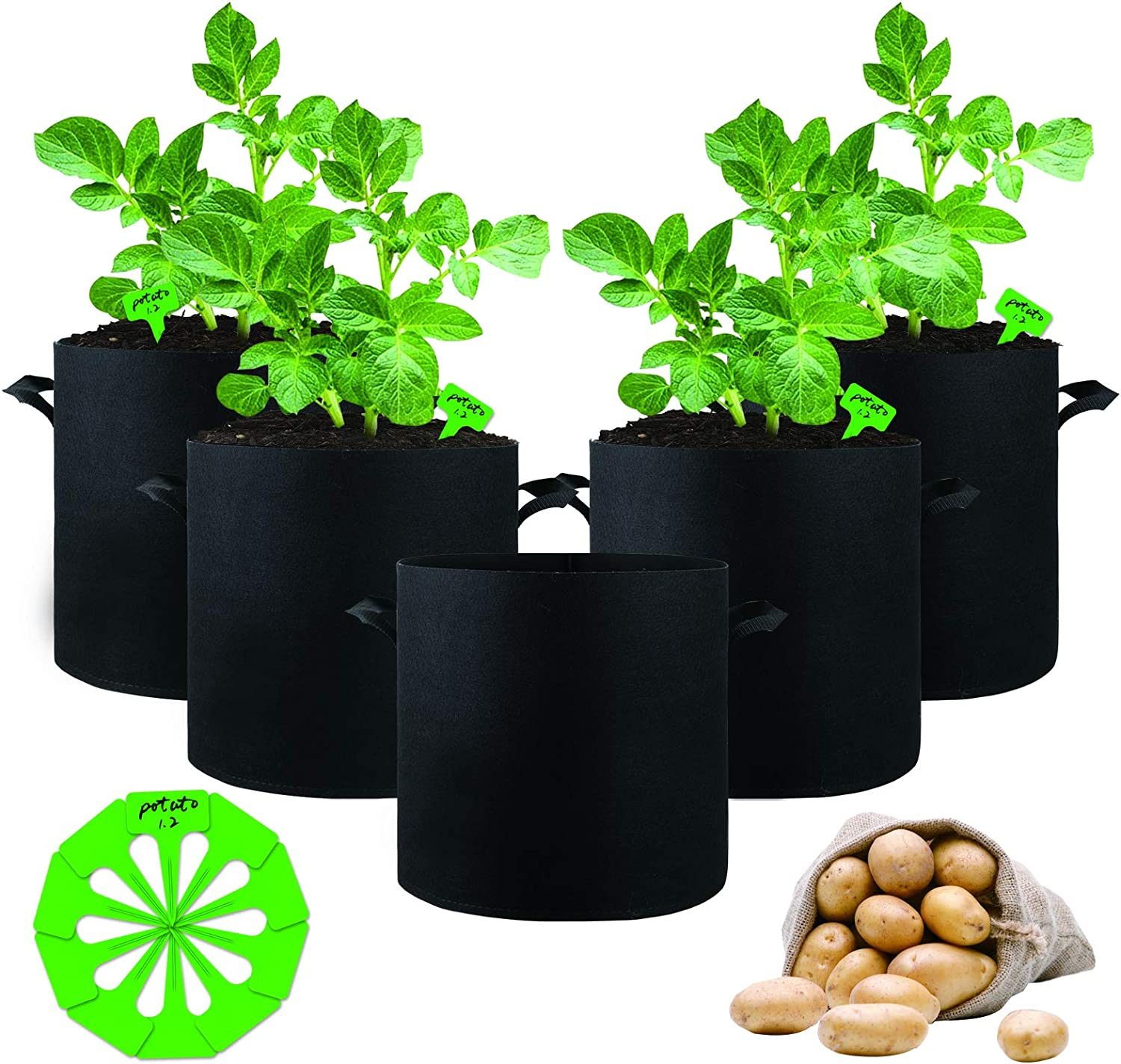 5-Pack 5 Gallon Grow Bags, Potato Grow Bags Heavy Duty Thickened Nonwoven Fabric Grow Pots with Handles Garden Planter Grow Bags Indoor Outdoor Grow Containers for Tomato Vegetables and Fruits