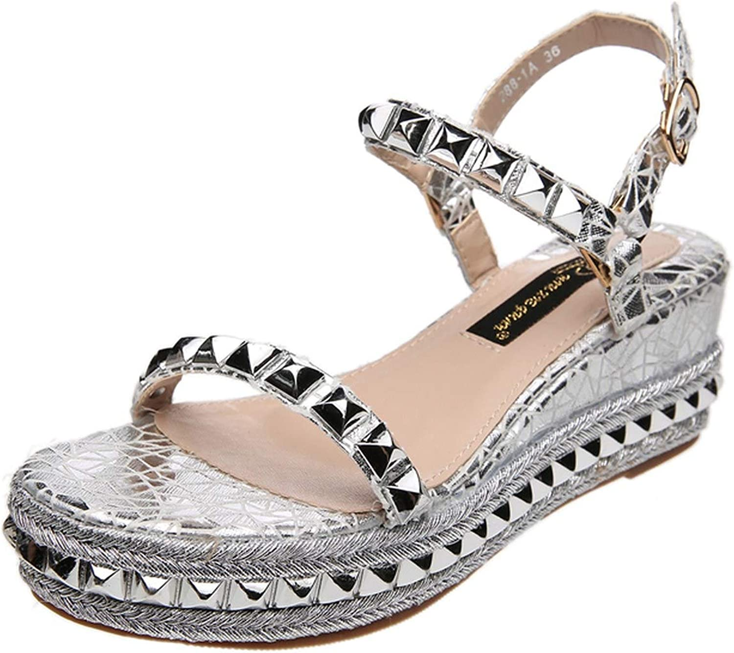 Sandals Summer Designer Casual gold Silver High Heels Wedges Studded Sandals Glitter Open Toe Heels Rivets Sandals