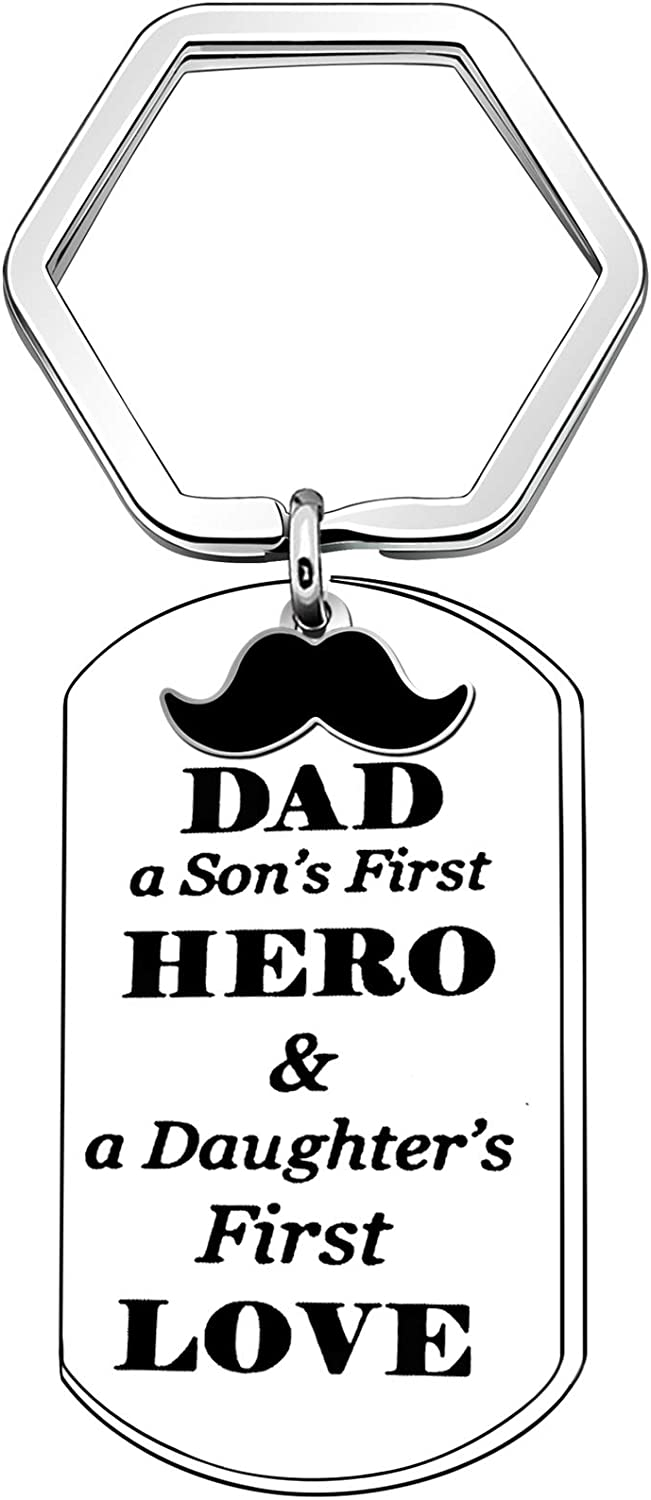CAROMAY Daddy Dog Tag Keychain Rings Fathers Day Gift Dad Keychains Cute Papa Mustache Keyrings Family Son's Hero Daughter's First Love