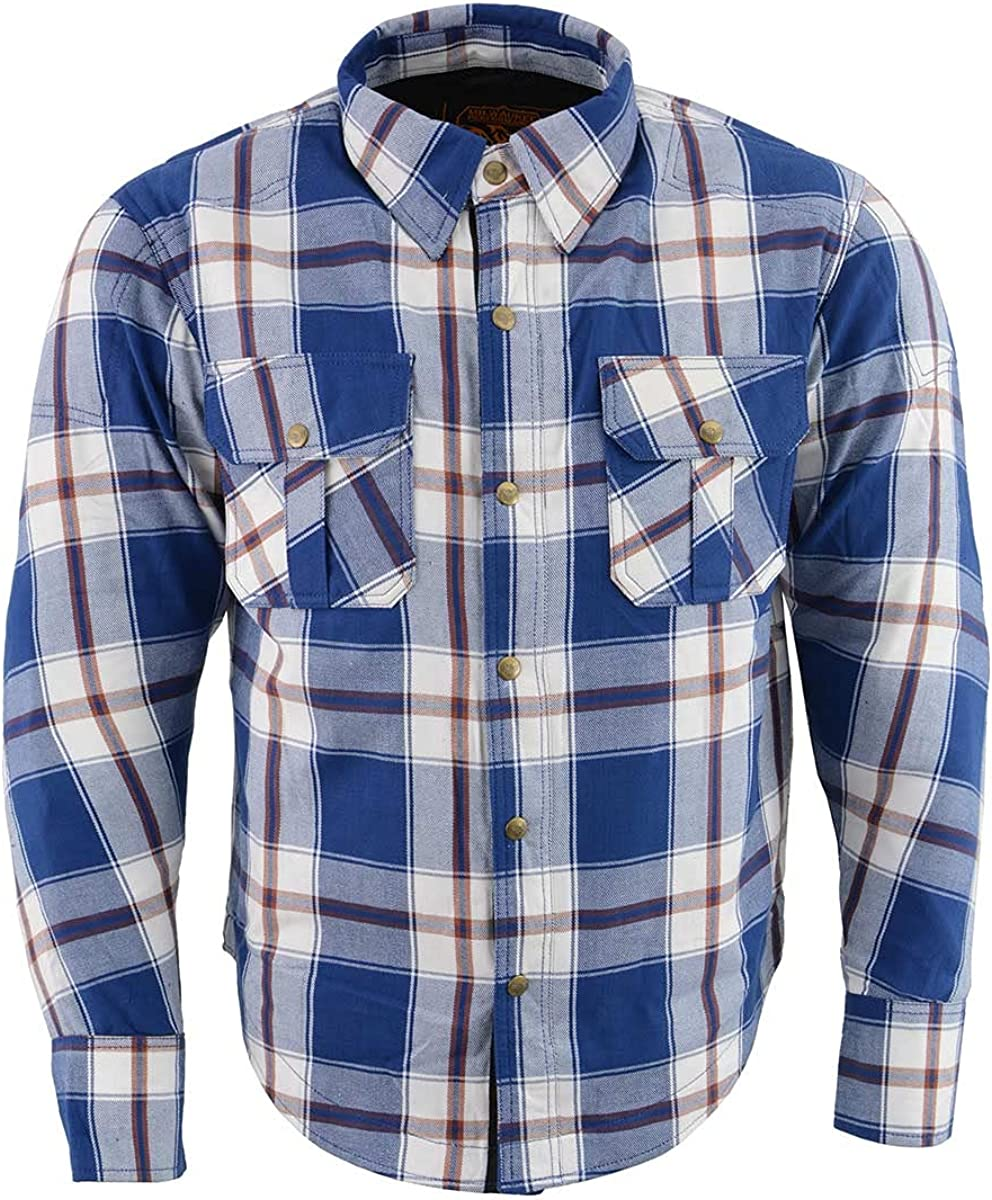 Milwaukee Leather MPM1645 Men's Blue, White and Maroon Armored Long Sleeve Flannel Shirt with Kevlar