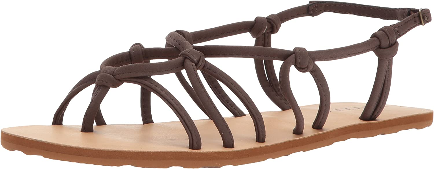 Volcom Womens Whateversclever Knotted Synthetic Leather Sandal Flat Sandal