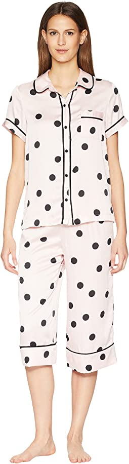 Dot Satin Capris Pajama Set