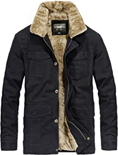 Men's Winter Cotton Jacket Fur Collar Military Outwear Coat