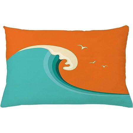 Aesthetic Art Colorful Newport Beach California Ocean Waves Surfer Sea Design 14x14 16x16 18x18 20x20 Inch Sets THROW PILLOW Surfing Teal