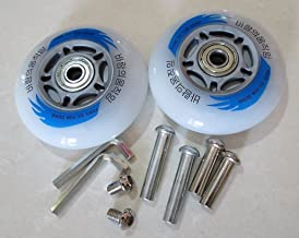 E&L 2 Sets of Caster Board Replacement Wheels with Illuminating Lights, Packaged with Our own Designed Bag @ Eric & Leon Logo (80 X 24 (mm))