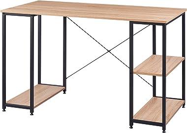 WOLTU TSB31she Table de Bureau Table d'ordinateur en aggloméré et Acier avec étagère env.120x60x75cm Noir+Chêne Clair