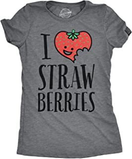 Womens Scented Ink I Heart Strawberries Fruit Smelling Scratch 'N Sniff T Shirt