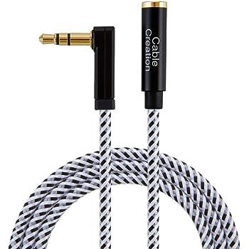 3.5mm オーディオステレオ延長ケーブル, CableCreation 片側90度ライトアングル L型 Auxケーブル オス-メス ブラック+ホワイト 0.9m