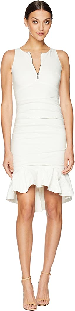 High Neck w/ Zip and Ruffle Hem Dress