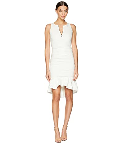 Nicole Miller High Neck w/ Zip and Ruffle Hem Dress (White) Women