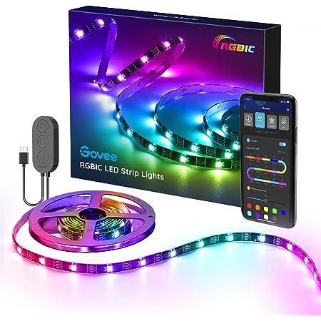 Govee RGBIC LED Strip, 2m wasserdichter LED Streifen steuerbar mit App, LED TV Hintergrundbeleuchtung Sync mit Musik, USB-Betrieb, für TV, PC, Deko, Party