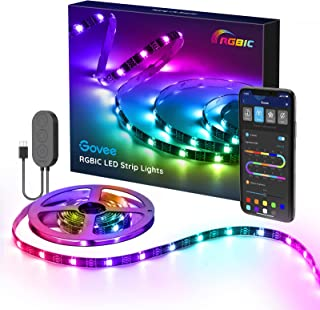 Govee RGBIC LED Strip, 2m wasserdichter LED Streifen steuerbar mit App, LED TV Hintergrundbeleuchtung Sync mit Musik, USB-...
